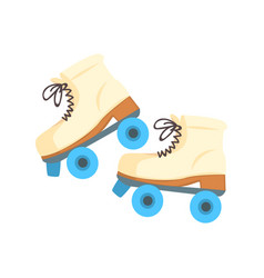 White roller blades with blue wheels cartoon vector