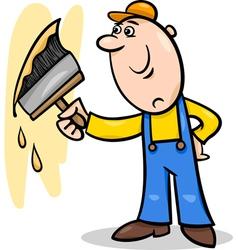 Worker with brush cartoon vector