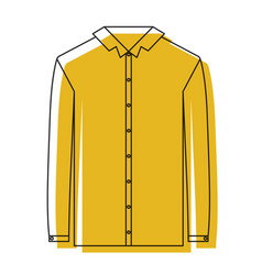 Yellow watercolor silhouette of shirt long sleeve vector