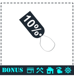 10 percent discount icon flat vector image