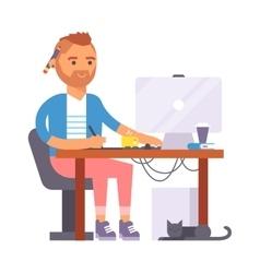 Artist designer boy character vector