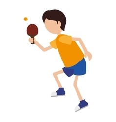 Cartoon boy player ping pong vector