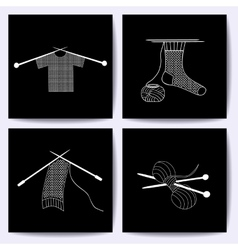 Set of cards with knitting needles sock scarf vector