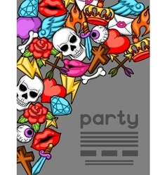 Party invitation with retro tattoo symbols vector
