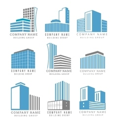 Real estate construction business logo set with vector