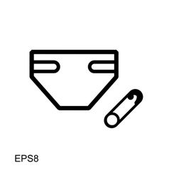 Flat diaper icon for web and mobile applications vector