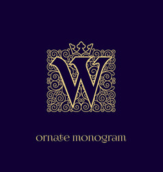 Monogram with crown w vector