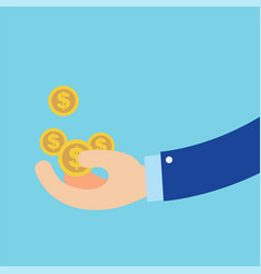 Flat hand earn coins symbol about business vector