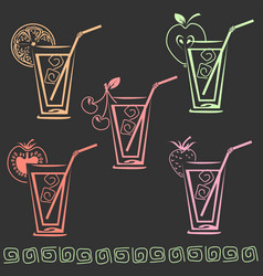 Glass of juice icon set vector
