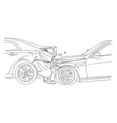 auto accident involving two cars - vector image