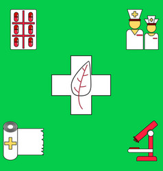 collection of icons and medical tools vector image