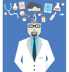 Picture of male doctor with medicine symbols vector