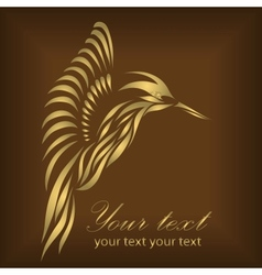 Vintage beautiful gold hummingbird vector