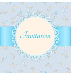 Lace frame with blue ribbon on floral background vector