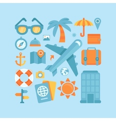 Icons in flat style - travel and vacation vector