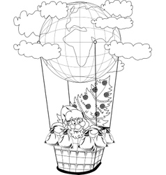 Christmas hot air balloon with santa claus vector
