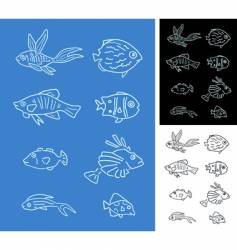 set of fishes vector image