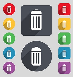 The trash icon sign a set of 12 colored buttons vector