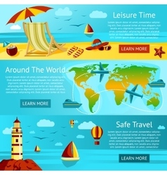 Set of summer travel and leisure banners vector
