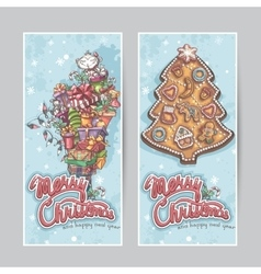 Merry christmas greeting card vertical banners vector