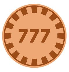 777 copper casino chip vector