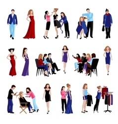 Fashion model catwalk icons vector image