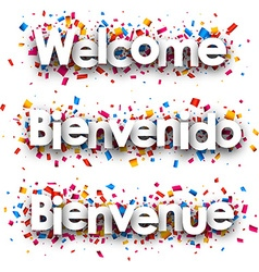 Welcome paper banner vector