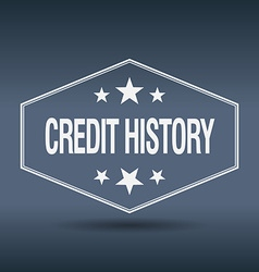 Credit history hexagonal white vintage retro style vector