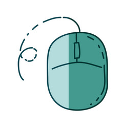 Aquamarine hand drawn silhouette of computer mouse vector