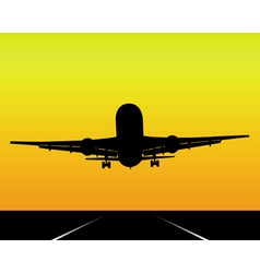 black silhouette of an airplane vector image vector image