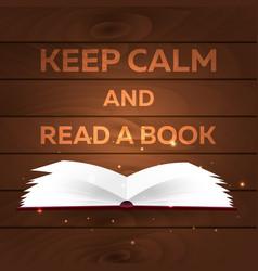 book poster keep calm and read a book open book vector image
