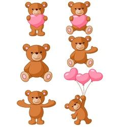 Cartoon bear with pink love vector