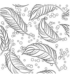 Coloring-antistress-feathers vector image vector image