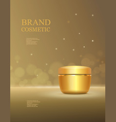 Cosmetic product poster golden bottle package vector