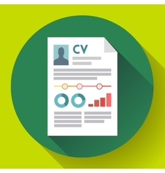 CV resume icon Modern flat 20 style vector image vector image