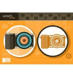 Digital camera in frame on orange background vector image vector image