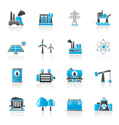 Energy produsing industry and resources icons vector