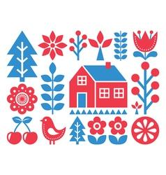 Finnish inspired folk art pattern - Scandinavian vector image vector image