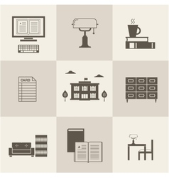 flat library icons vector image vector image
