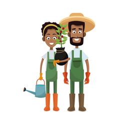 Gardener couple icon vector