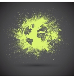 Grunge green earth on black background vector image vector image