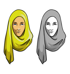 Hijab girl head vector