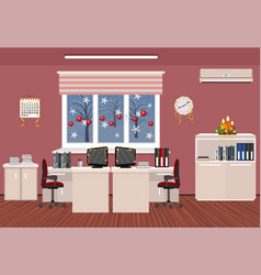 Holiday office room interior christmas design of vector