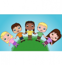 kids holding hands on hill vector image vector image