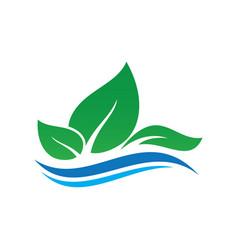 Leaf ecology wave concept logo image vector