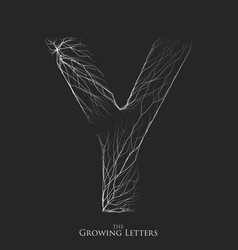 Letter y of branch or cracked alphabet y vector