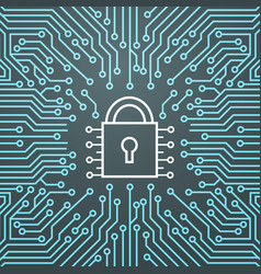 lock network data protection system concept banner vector image
