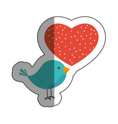 love heart with cute bird vector image