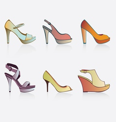 of six shoes vector image vector image