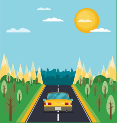Picture of car on the road with city silhouette vector